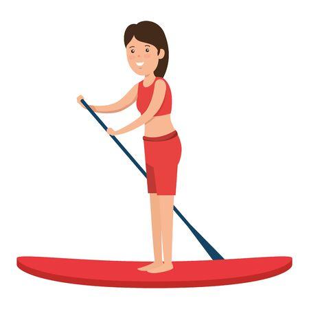 happy athletic girl practicing surf sport vector illustration design