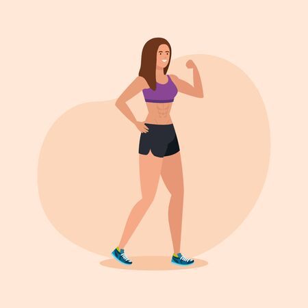 fitness woman to sport healthy activity over pink background, vector illustration 向量圖像