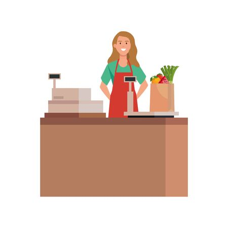 seller woman design, shop store market shopping commerce retail buy and paying theme Vector illustration Vetores