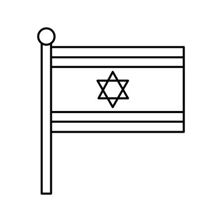 flag israel patriotic line style icon vector illustration design