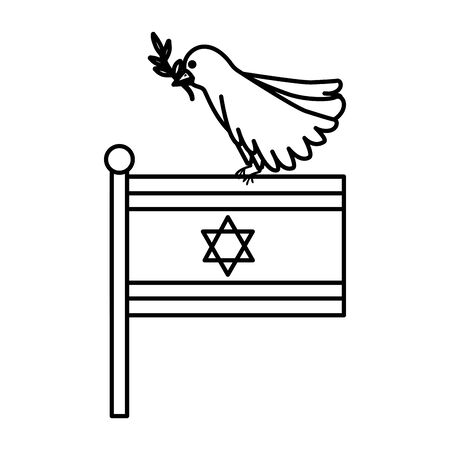 flag israel and bird with branch line style vector illustration design