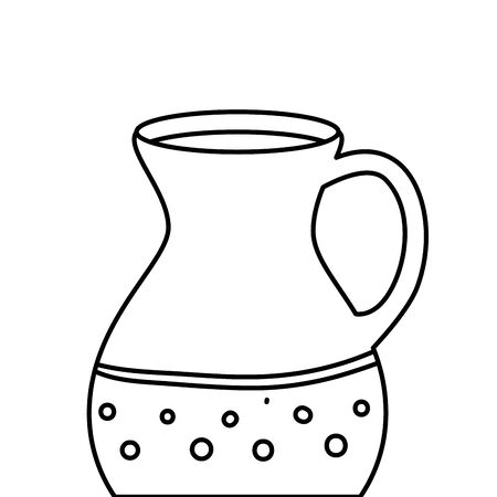 teapot of pottery decorative line style icon vector illustration design