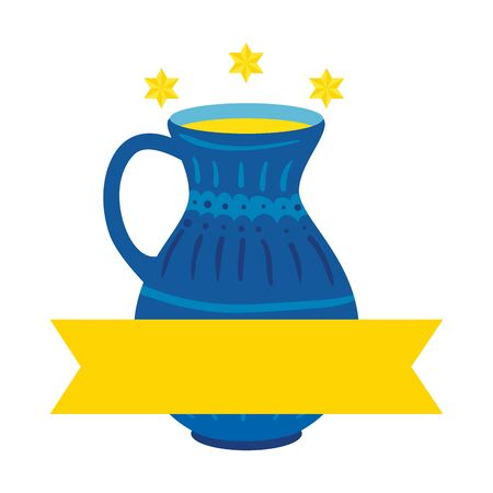 teapot of pottery decorative with stars david and ribbon vector illustration design