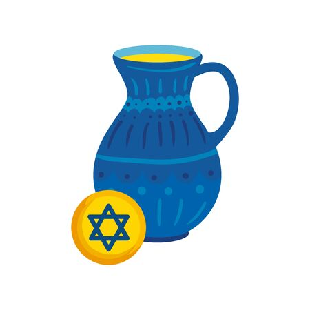 teapot of pottery decorative with star david vector illustration design