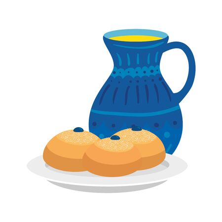 set of round breads with teapot isolated icon vector illustration design