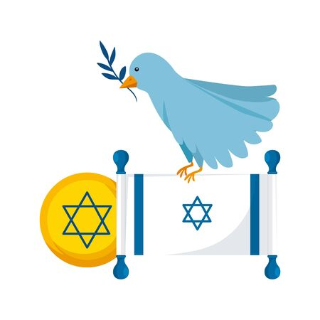 flag israel and bird with olive branch vector illustration design