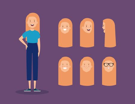 young woman with blonde hair and set heads vector illustration design
