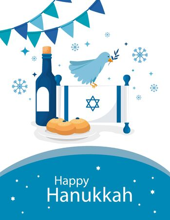 happy hanukkah with flag israel and icons vector illustration design