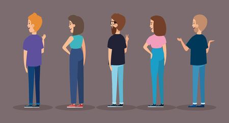 group of back young people avatar characters vector illustration design Çizim