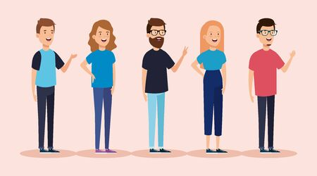 group of young people avatar characters vector illustration design Çizim