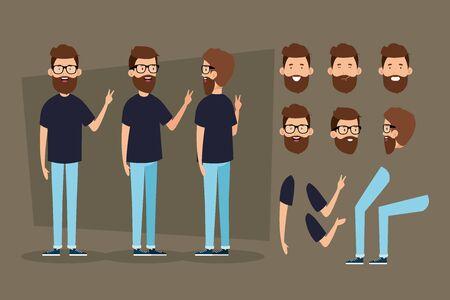 junger Mann mit Bart und Körperteilen Zeichen Vector Illustration Design Vektorgrafik