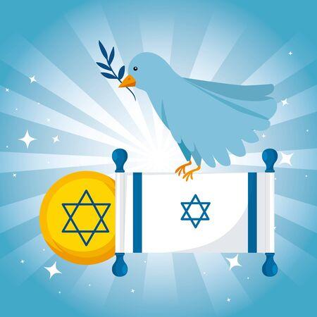 flag israel and bird olive branch vector illustration design Çizim