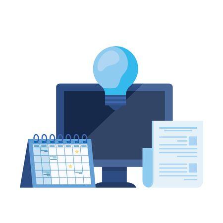 desktop computer with calendar reminder vector illustration design  イラスト・ベクター素材