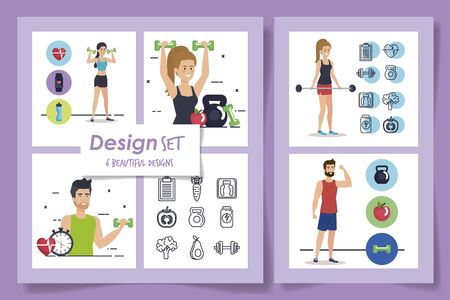 six designs of athletes and set icons vector illustration design