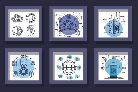 bundle of designs intelligence artificial and set icons vector illustration design