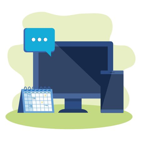 desktop computer with speech bubble vector illustration design