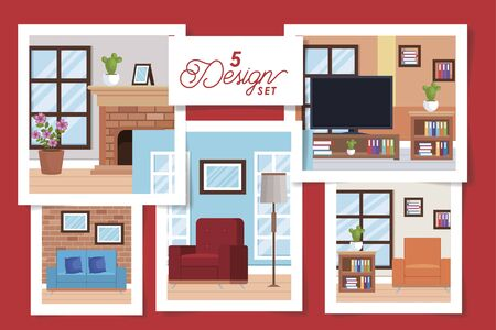 five designs of interiors living room with decoration vector illustration design Archivio Fotografico - 136459129