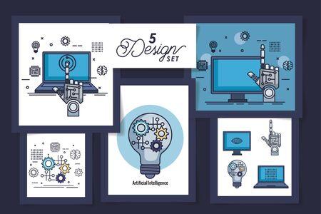 cinq conceptions d'intelligence artificielle et set icons vector illustration design
