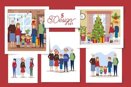 five designs of christmas family with decoration vector illustration design