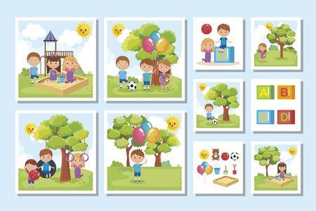bundle of cute kids in the park vector illustration design