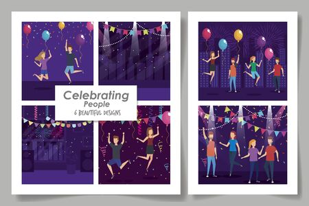 six designs of celebrating people with decoration vector illustration design