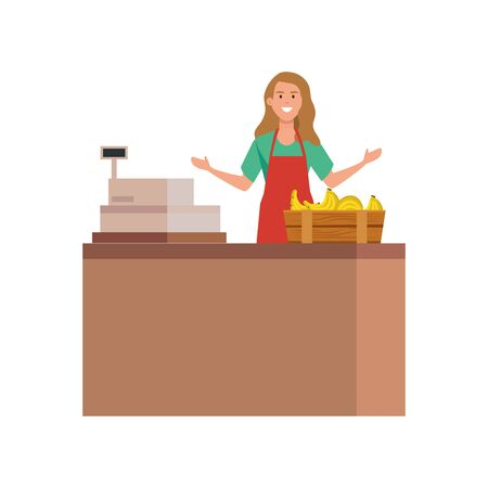 seller woman design, shop store market shopping commerce retail buy and paying theme Vector illustration