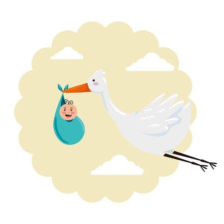 baby shower card with stork and little newborn vector illustration design Иллюстрация