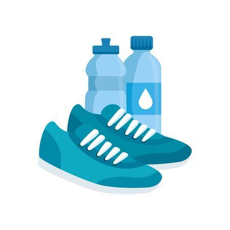 bottles water with shoes of sport vector illustration design Illustration