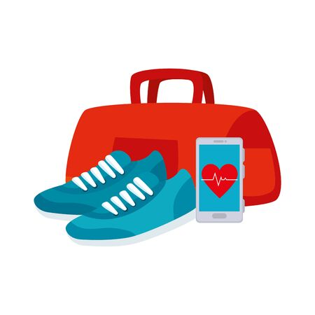 shoes of sport with set icons vector illustration design