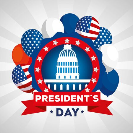 happy presidents day with american parliament and decoration vector illustration design