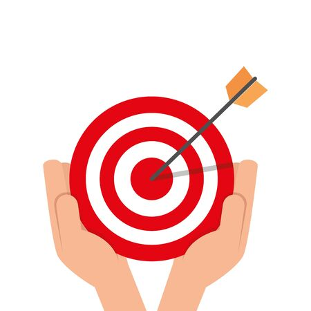 hand and target with arrow isolated icon vector illustration design