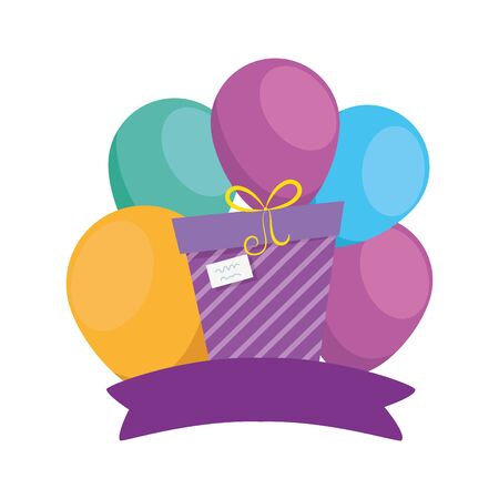 Gift with balloons design, happy birthday celebration decoration party festive and surprise theme Vector illustration
