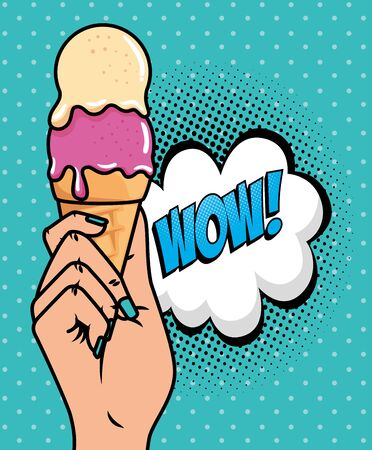 hand with ice cream and wow expression pop art style vector illustration design