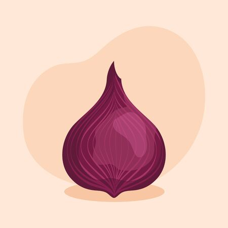 fresh onion vegetable and healthy nutrition over pink background, vector illustration