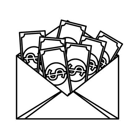 envelope with bills money dollars vector illustration design Archivio Fotografico - 136512702