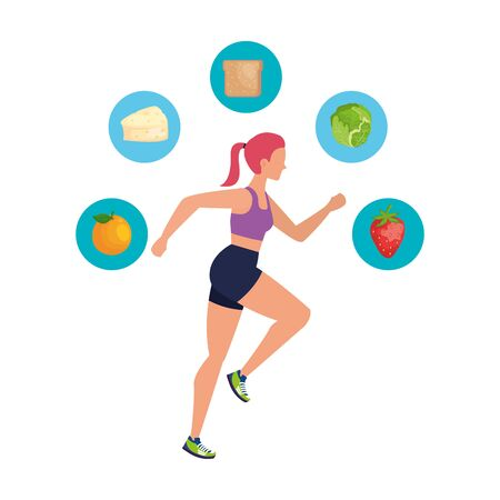 young athletic woman running with healthy icons vector illustration design