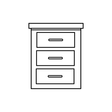 wooden drawer furniture line style icon vector illustration design