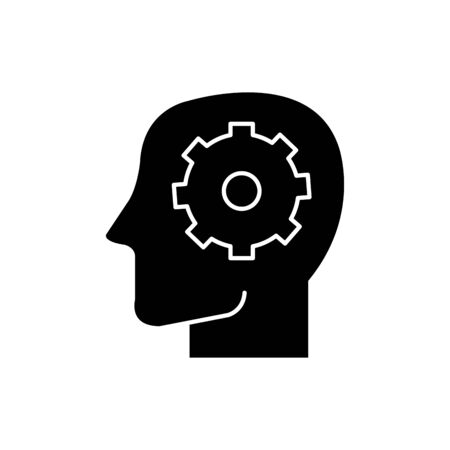 Gear inside head design, construction work repair machine part technology industry and technical theme Vector illustration  イラスト・ベクター素材