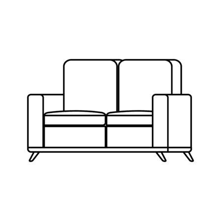 furniture comfortable sofa line style icon vector illustration design Ilustração