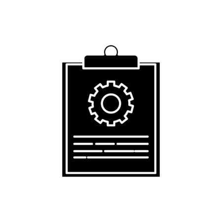 Gear and document design, construction work repair machine part technology industry and technical theme Vector illustration Banco de Imagens - 136520664