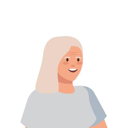 old woman elegant avatar character vector illustration design Imagens - 136521611