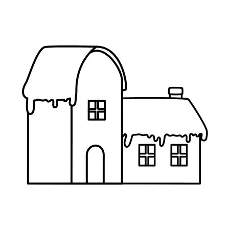 houses with snow line style icon vector illustration design