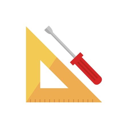 Ruler and screwdriver design, Construction work repair reconstruction industry build and project theme Vector illustration