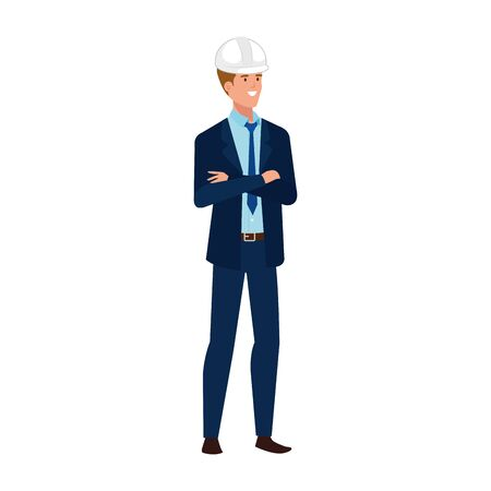 Architect man design, Construction work repair reconstruction industry build and project theme Vector illustration