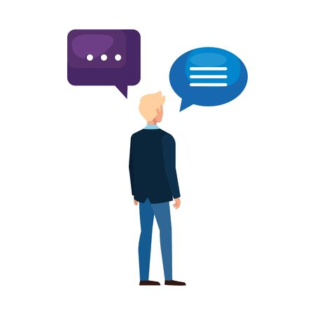 Communication bubbles and man design, Message discussion conversation talk and technology Vector illustration
