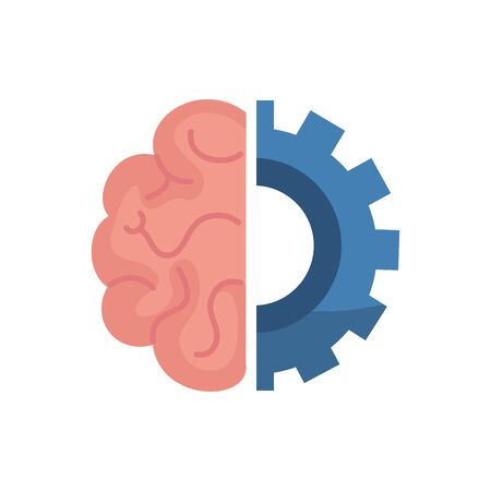 Gear and brain design, construction work repair machine part technology industry and technical theme Vector illustration
