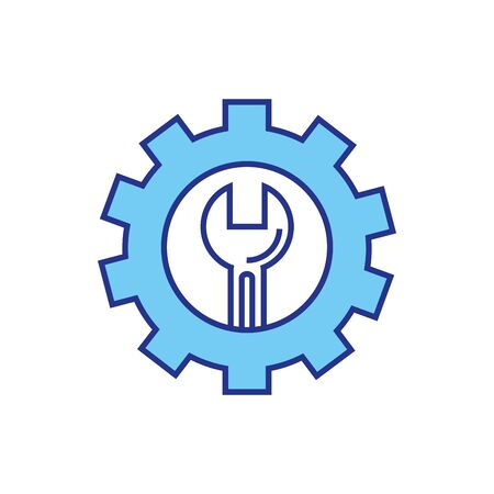 wrench inside gear design, Construction work repair reconstruction industry build and project theme Vector illustration Foto de archivo - 136529404