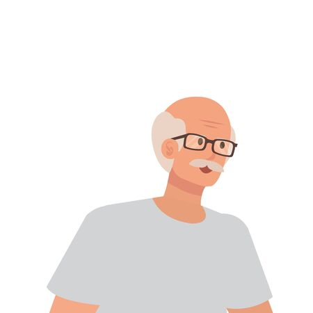 old man with eyeglasses avatar character vector illustration design