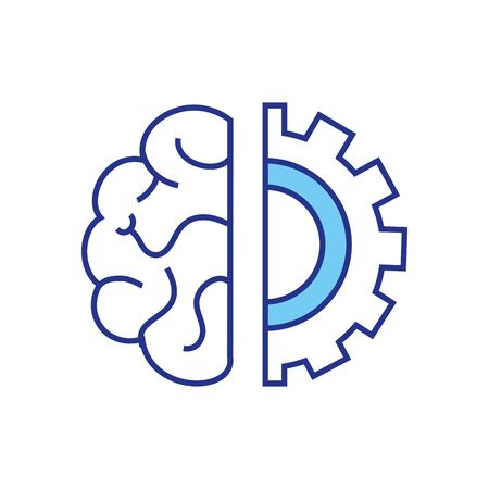 Gear and brain design, construction work repair machine part technology industry and technical theme Vector illustration  イラスト・ベクター素材