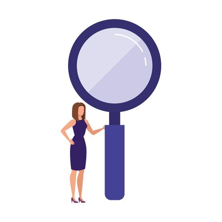 Loupe and woman design, Tool search magnifying glass zoom lens and exploration theme Vector illustration Ilustração